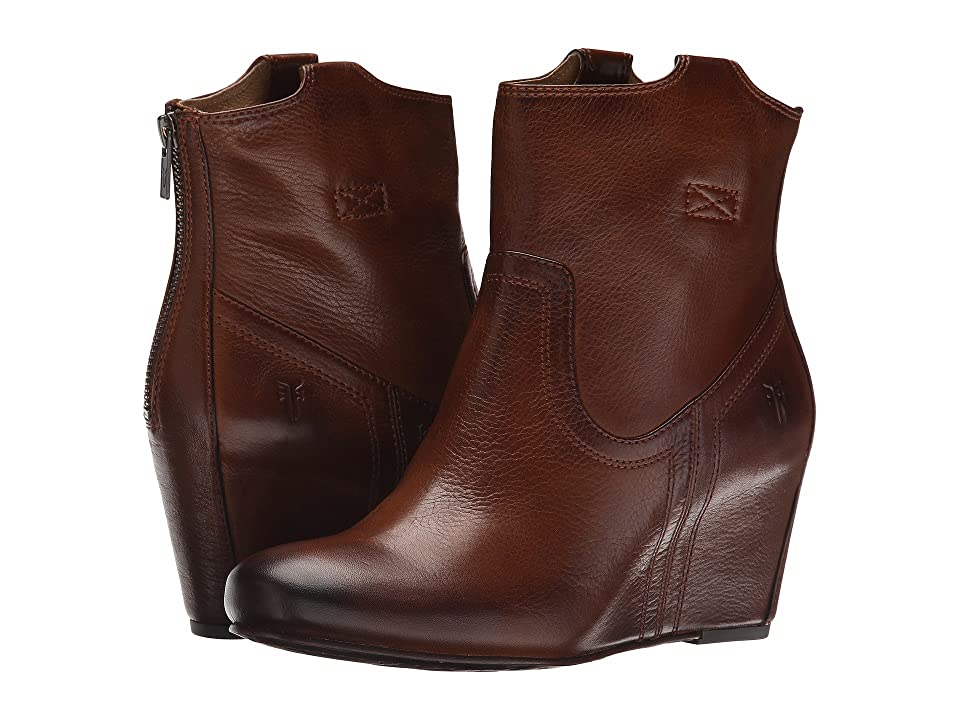 Frye Carson Wedge Bootie (Cognac Soft Vintage Leather) Cowboy Boots