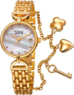 Burgi Women's Swarovski Crystal Accented Mother of Pearl Dial Charm Bracelet Watch - BUR172