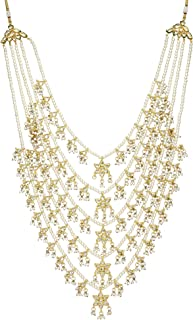 Runjhun Jewellery Indian kundan Satlada Pearl 5-Layered Semi Precious Gemstones Traditional Designer Necklace Handicrafted in India for Women
