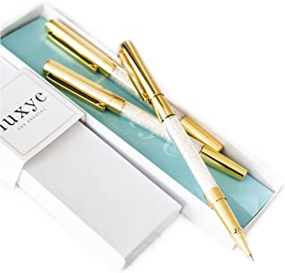 Gold Pen with Gold Cap - 3 Fine Ballpoint Gold Crystal Pens in Glossy White Gift Box | Gold Office Decor Supplies Gifts for Women, Bridesmaids, Mothers Day, Coworkers, Christmas (Gold - Black Ink)