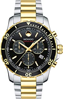 Men's Series 800 2-Tone Chronograph Watch with Printed Index, Gold/Black/Silver (2600146)