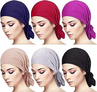 6 Pieces Slip-On Pre-Tied Scarf Caps Women Turban Hat Beanie Head Scarf Head Wrap Headwear for Women Girls (Elegant Color)