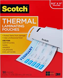 Scotch Thermal Laminating Pouches, 100-Pack, 8.9 x 11.4 inches, Letter Size Sheets, Clear, 3-Mil (TP3854-100)