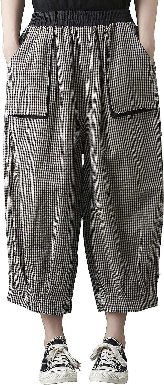 ellazhu Women Elastic Waisted Casual Plaid Harem Pants with Pockets GA2326 A