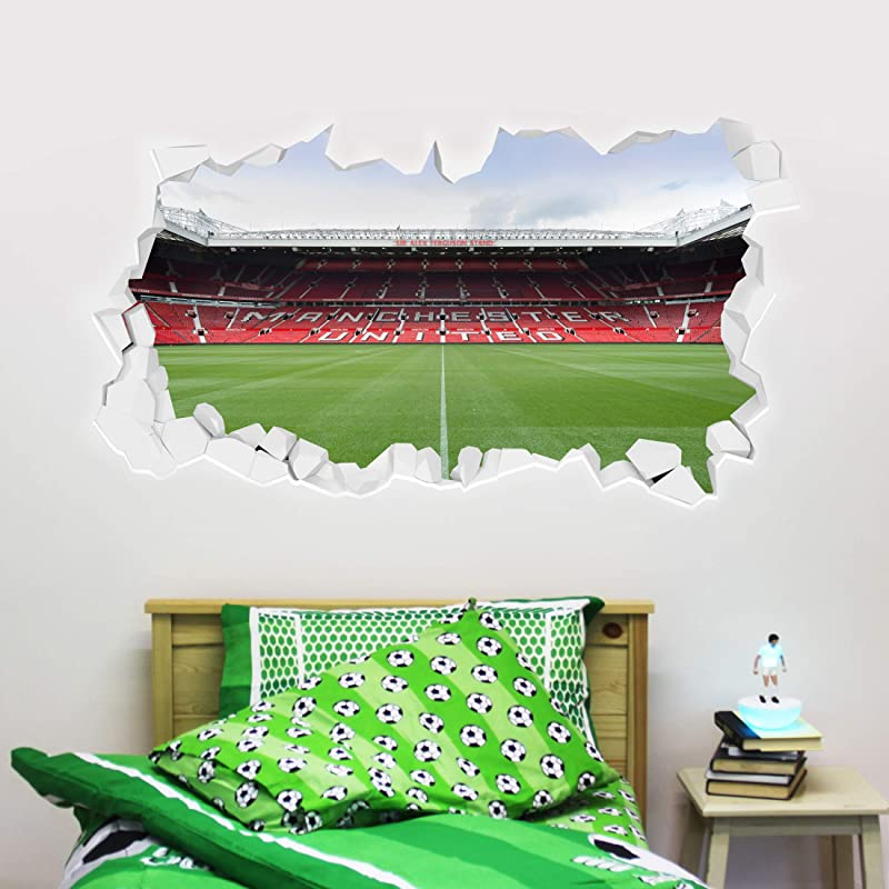 Beautiful Game Ltd Manchester United Football Club Official Broken Wall Old Trafford Stadium Wall Sticker Man Utd Logo Decal Set Vinyl Poster Print Mural Art 120cm