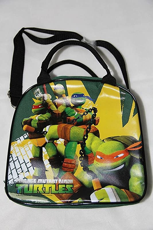 TMNT Ninja Turtles Lunch Box Carry Bag With Shoulder Strap And Water Bottle GREEN