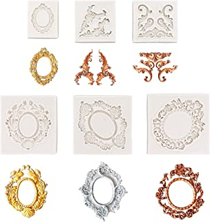 Baroque Style Curlicues Scroll Lace Photo frame Fondant Silicone Mold for Sugarcraft, Cake Border Decoration, Cupcake Topper, Jewelry, Polymer Clay, Crafting Projects (6pcs)