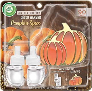 Air Wick Plug in Scented Oil Starter Kit with Pumpkin Decor Clip, Fragrance Plug + 2 Refills, Pumpkin Spice, Fall Scent, Fall Spray, Essential Oils, Air Freshener