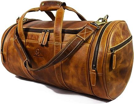 20 Inch Leather Duffle Bag for Men   Barrel Bag With Adjustable Straps   Full Grain