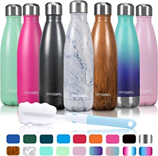 arteesol Water Bottle   Leakproof Cola Shape Bottle Keep Hot&Cold   Double Wall Vacuum 18/8 Stainless Steel Bottle   Narrow Mouth Personalized Texture-for Outdoor Activities