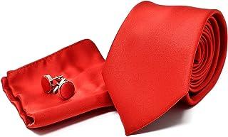 Corbata de hombre, Pañuelo de Bolsillo y Gemelos Rojo Satén - 100% Seda - Clásico, Elegante y Moderno - (Caja y Conjunto de Regalo, ideal para una boda, con un traje, en la oficina...)