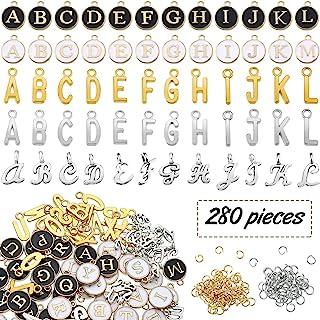 280 قطعة من سحر الحروف الأبجدية لصناعة المجوهرات المعدنية مجموعة من الحروف، بما في ذلك 5 مجموعات من حلي الحروف الأبجدية من...