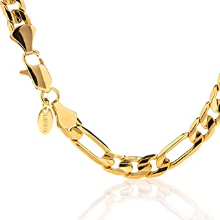 Lifetime Jewelry Gold Bracelets for Men and Women [ 9mm Figaro Chain ] 20X More 24k Plating Than Other Gold Chain - Free Lifetime Replacement Guarantee - Durable Figaro Wrist Bracelet 8 9 10 inches