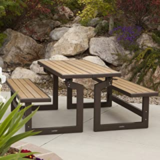 Lifetime Products Wood Grain Convertible Folding Picnic Table