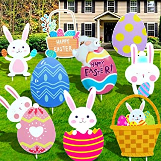 9PCS Easter Decorations Outdoor Easter Yard Signs Yard Stakes Outdoor Decorations Yard Signs for Home Yard Lawn Party Deco...