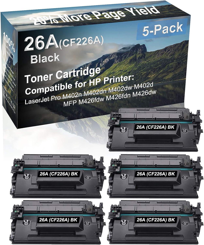 5-Pack Compatible High Capacity MFP M426fdw M426fdn M426dw Printer Toner Cartridge Replacement for HP (CF226A) 26A Printer Cartridge (Black)