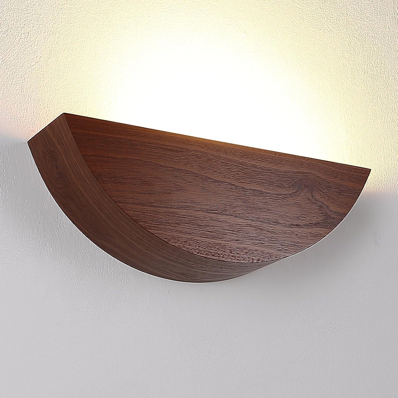 Wandleuchte aus Holz LED 6W   Holzleuchte E27 230V   Holzwandleuchte Meranti Furnierholz   Wandlampe modern 660lm   Leuchte Echtholz furniert   Holzlampe + 6W LED-Leuchtmittel 2700K