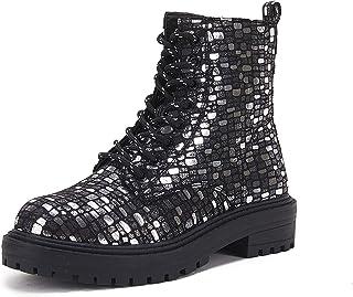 جزمة بأربطة للنساء مقدمة مستديرة من Beotyshow أحذية ذات كعب منخفض, رمادي, 40 EU