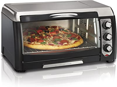 Hamilton Beach Countertop Convection Toaster Oven, 6-Slice, with Bake Pan and Broil Rack, Black (31331D)