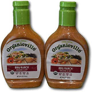 Organicville BBQ Ranch Dressing & Dip- Small Batch & USDA Organic (2 x 24 FL OZ)