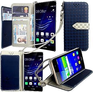 【ストラップ2本付】【GTO】Huawei P9 Plus ケース 手帳型 カバー 手帳型 【GTO】お洒落な2トーンカラー オリジナルハンドストラップ&ネックストラップ付 3点セット PUレザー&高品質アンチグレアTPUケースを使用した手帳型PUレザーケース ネイビー