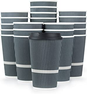 Glowcoast Disposable Coffee Cups With Lids – 16 oz To Go Coffee Cup (80 Pack)...