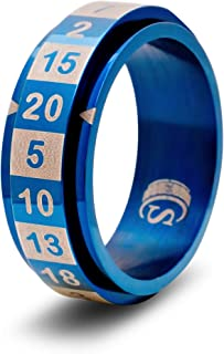 CritSuccess d20 Dice Ring with 20 Sided Die Spinner (Size 8 - Stainless Steel - Blue)