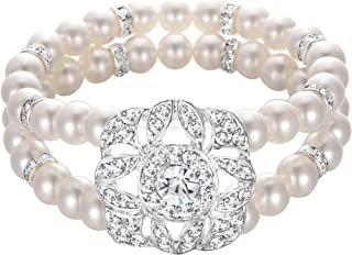 Women's Wedding Bridal Crystal Simulated Pearl Double Row Strand Halo Vintage Stretch Bracelet