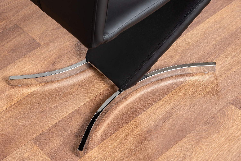 Black Chairs Furniturebox UK 2x Willow Modern Premium Chrome Metal Z Faux Leather Stylish Dining Chairs Set