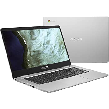 "ASUS Chromebook C423NA-DH02 14.0""HD NanoEdgeディスプレイ、180度ヒンジIntelデュアルコアCeleronプロセッサ、4GB RAM、32GB eMMCストレージ、シルバーカラー"