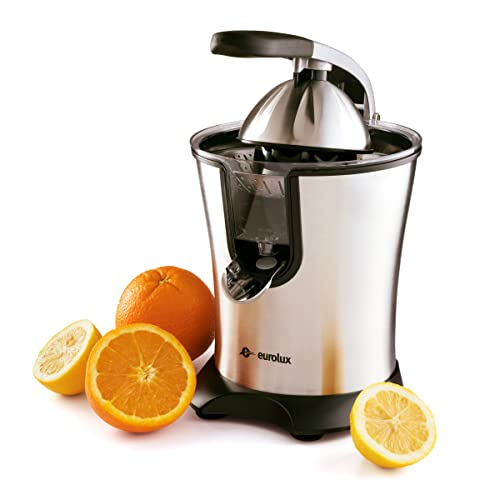 16008224ec Eurolux Electric Orange Juicer Squeezer Stainless Steel 160 Watts of Power  Soft Grip Handle and Cone