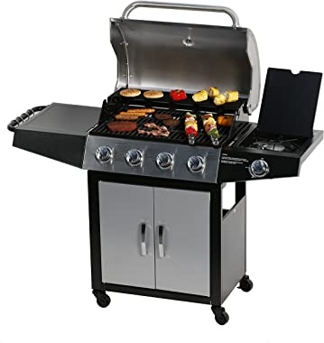 MASTER COOK Gas Grill, BBQ 4-Burner Cabinet Style Grill Propane with Side Burner, Stainless Steel
