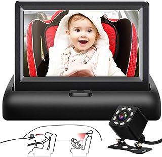 Shynerk Baby Car Mirror, 4.3'' HD Night Vision Function Car Mirror Display, Safety Car Seat Mirror Camera Monitored Mirror...