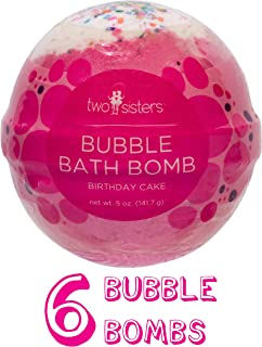 6 Birthday Cake Bubble Bath Bombs by Two Sisters Spa. 6-5oz Large 99% Natural Fizzies For Women, Teens and Kids. Moisturizes Dry Sensitive Skin. Releases Lush Color, Scent, Bubbles.