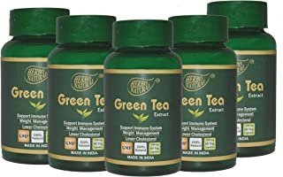 Herbo Natural Ayurvedic Green Tea Extract 500 Mg 60 Veg Capsules GMP Certified (Pack of 5)