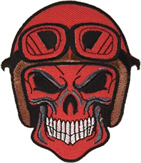 Tyga_Thai Brand Skull Dead Head Helmet Goggles Ghost Zombie Death Red Color Biker Rider Chopper Motorcycle Jacket Vest Costume Embroidered Sew on Iron on Patch (Iron-Skull-Helmet-RED)