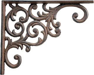 Wall Shelf Bracket Ornate Vine Pattern Brown Cast Iron Brace 9.375