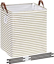 Hinwo 19.7 Inches Rectangle Large Size Canvas Fabric Laundry Hamper with PU Leather Handles, Stretchable Supports, Storage...