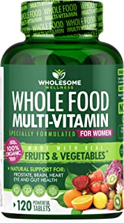 Whole Food Multivitamin for Women - Natural Multi Vitamins, Minerals, Organic Extracts - Vegan Vegetarian - Best for Daily...