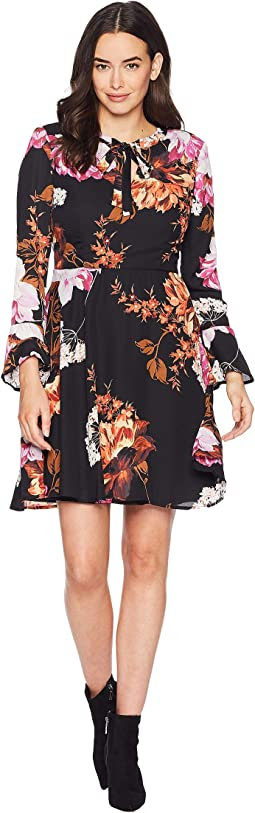 Tie Neck Long Sleeve Printed Floral Chiffon Fit and Flare Dress