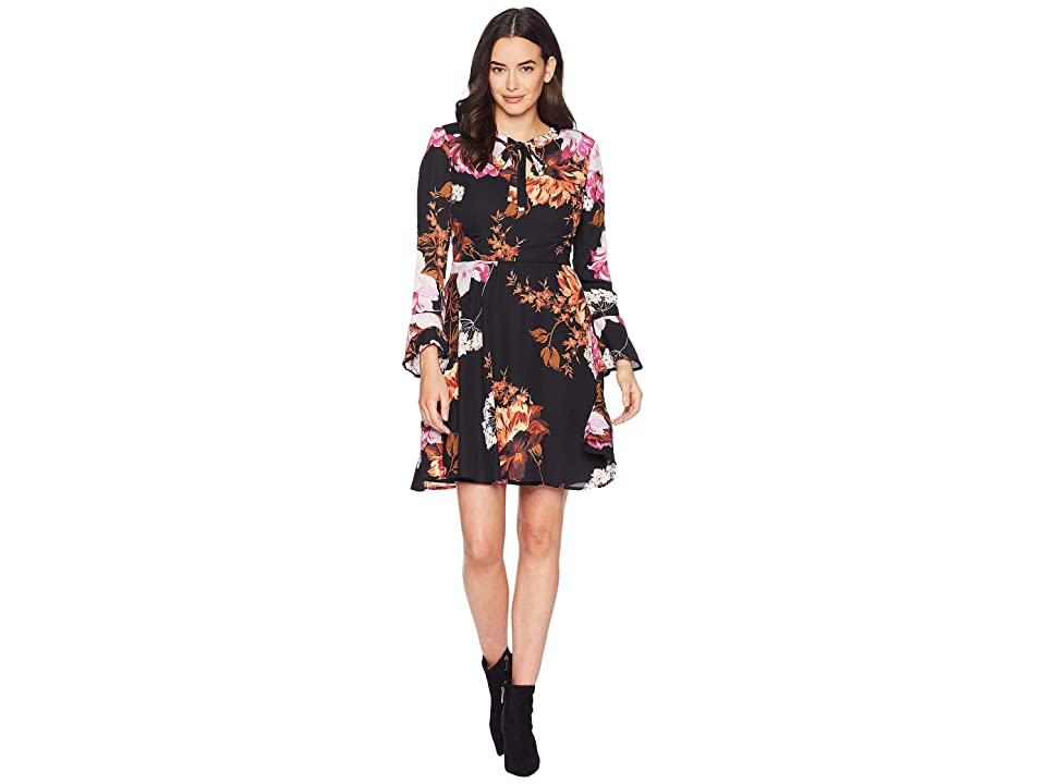 eci Tie Neck Long Sleeve Printed Floral Chiffon Fit and Flare Dress (Black/Orange) Women