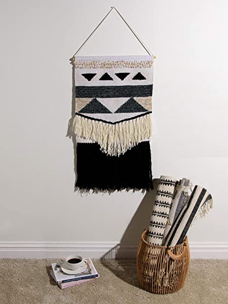 Best Home Fashion Mason Woven Wall Hanging Wh Black 18 W X 30 H