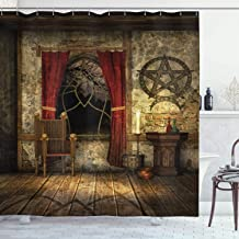 Ambesonne Gothic House Decor Shower Curtain Set, Pentagram Symbol in Candlelight Red Curtains in Mystical Medieval Chamber...