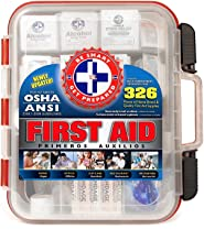 First Aid Kit Hard Red Case 326 Pieces Exceeds OSHA and ANSI Guidelines 100 People - Office, Home, Car, School, Emergency,...