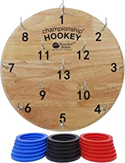 Championship Hookey - Famous ring toss game for kids and adults - safe darts alternative for the whole family. Premium wood and vibrant full color packaging! Perfect gift for kids, teens and adults.