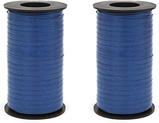 Set of 2 Berwick 1 62 1 62 Splendorette Crimped Curling Ribbon, 3/16-Inch Wide by 500-Yard Spool, Navy