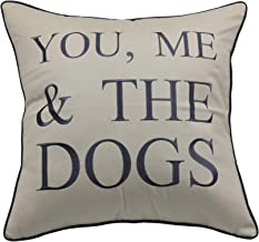 YugTex Pillowcases Embroidered Pet Lover Gift, You me and the dogs throw pillow cover, Home decor, dog lovers gift,Housewarming Gift,Couple Cushion cover (18x18, You me and the dogs(Natural))
