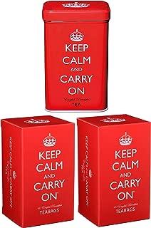 Keep Calm and Carry On English Breakfast Tea, Set of Tin and Two Cartons, 120 Tea Bags