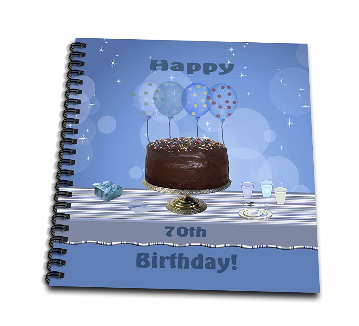 3dRose db_123956_2 70Th Birthday Party with Chocolate Cake and Blue Balloons Memory Book, 12 by 12-Inch