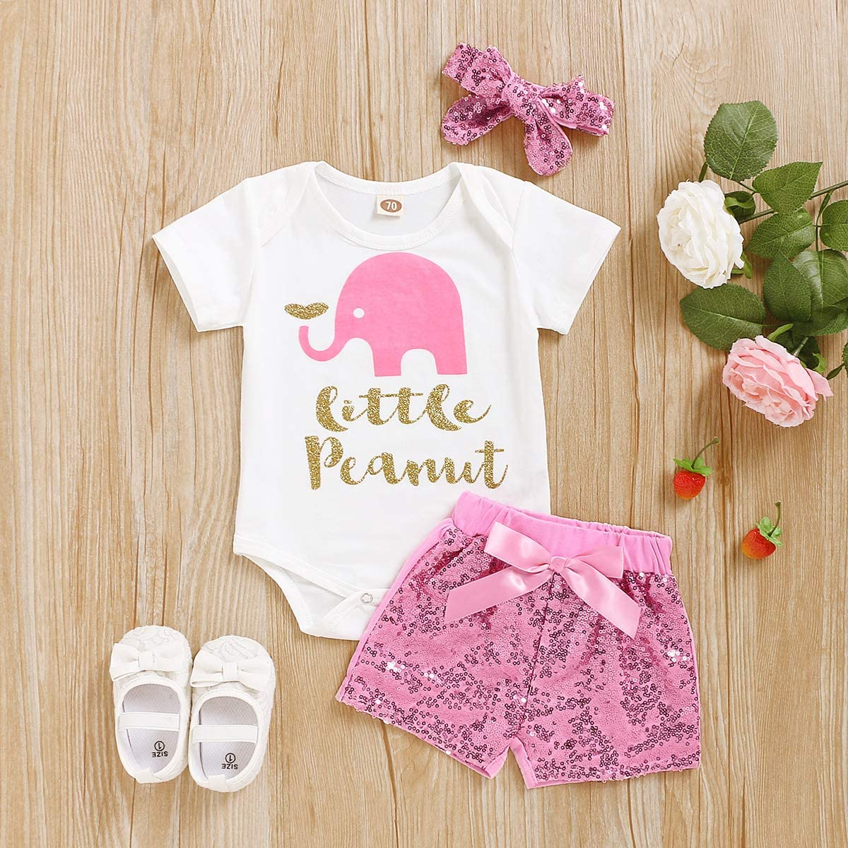 Polka Dots Shorts with Headband 3Pcs Outfit Set Pink Newborn Baby Girl Summer Clothes Elephant Letters Print Romper
